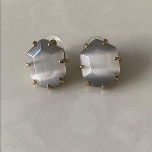 Kendra Scott Silver and Grey Stud Earrings